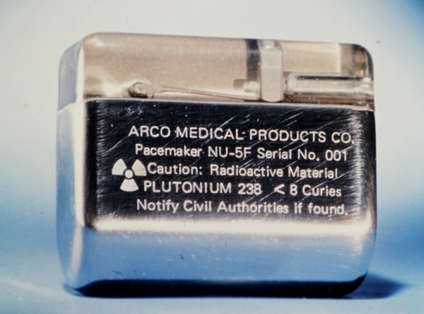 Arco pacemaker powered by a plutonium 238 RTG