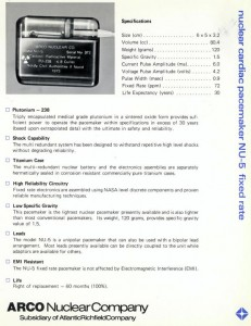 Original Arco Medical datasheet for NU5 plutonium-powered nuclear pacemaker