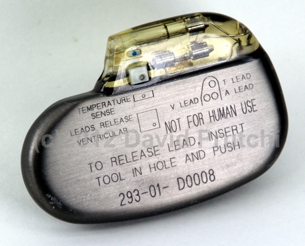 Back side of Intermedics Circadia pacemaker.  Labeling shows special connector for temperature-sensing lead.