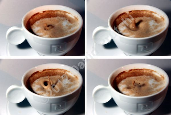Drop entering cup of coffee. High-speed photography using an implantable pacemaker