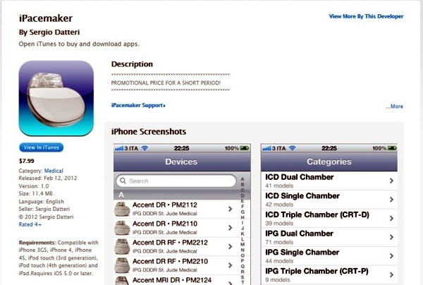 iPacemaker database for the iPhone