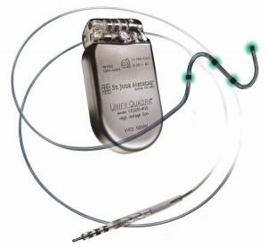 Quadrapolar cardiac resynchronization pacing St Jude Medical Unify Quadra www.implantable-device.com