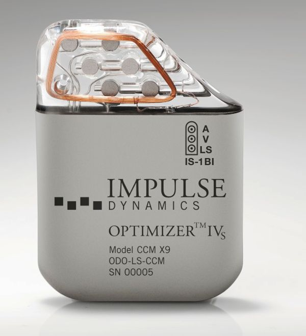 Impulse Dynamics OPTIMIZER IVs IPG for treatment of heart failure