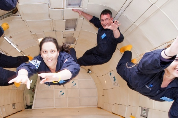 David and Dorith Prutchi floating in Zero G on board the G Force One airplane