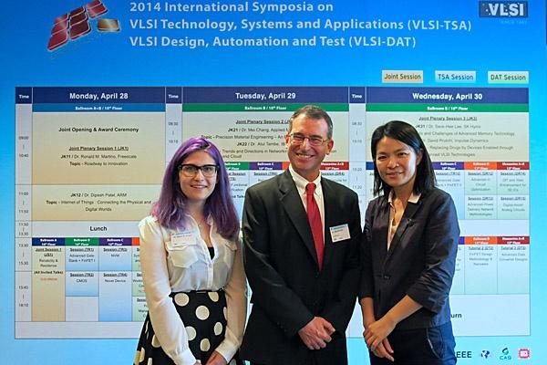 Shanni Prutchi, David Prutchi and Elodie Ho at VLSI-DAT 2014 in Taiwan